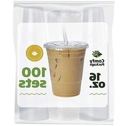Comfy Package  Clear Plastic Cups With Flat Lids
