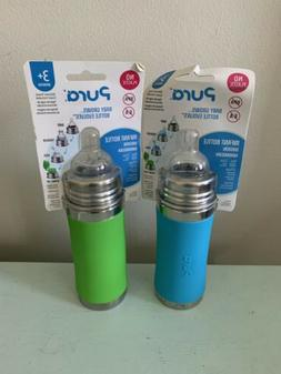 Pura 11oz Stainless Steel Toddler Sippy Cup Bottle Blue Gree