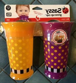 Sassy 2 Count Grow Up Cup, Purple/Orange, 9 Ounce 12 Months+
