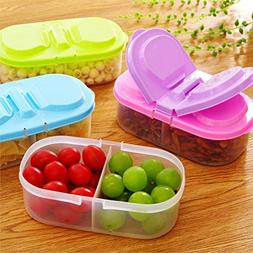 OUNONA 4pcs 2 Grid Reusable Plastic Food Storage Containers