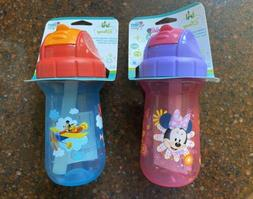 2 Disney MINNIE MICKEY MOUSE Pink &  Blue Straw Sippy Cup Se