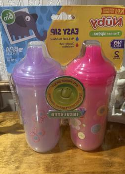 2 Pack-Nuby Trainer Sipeez-No Spill-Double Insulated- 9 Oz G
