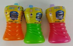 3 GERBER SIPPY CUPS 10 OZ FUN GRIPS SOFT SPOUT LEAK BREAK SP