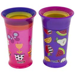 Sassy 360 Grow Up Spout Less Sippy Cup, 9 oz, Purple/Pink, S