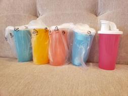 5 New Tupperware 10.5oz Tumblers Sprout Cups Flip Top Cap Ki