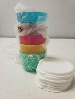 5 NEW Tupperware SNACK CUPS Lids Mini Bowls Set RAINBOW Dres