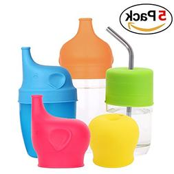 5 Packs Silicone Sippy Cup Lids with Spill-proof design for