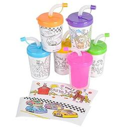 8oz Coloring Sippy Cup, Assorted Styles. One dozen.