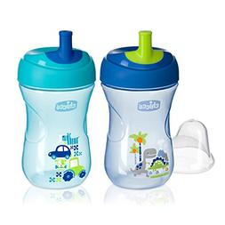 Chicco NaturalFit Straw Trainer Sippy Cup, Blue/Teal, 9 Ounc