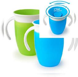 Munchkin Miracle 360 Trainer Cup, Green/Blue, 7 Ounce, 2 Cou