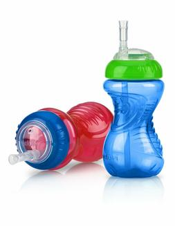 Nuby 2-Pack No-Spill Cup with Flex Straw, 10 Ounce, Colors M