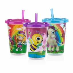 Nuby 3-Pack Stackable Printed Wash or Toss Straw Cups, 10 Ou