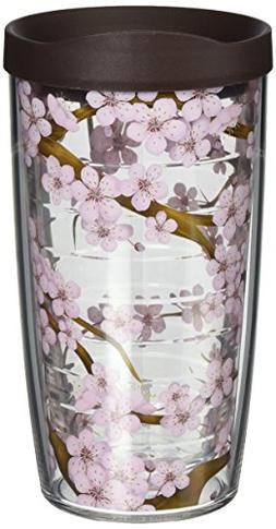Tervis 1041201 Cherry Blossom Tumbler with Wrap and Brown Li
