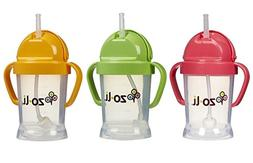 Zoli Baby BOT Straw Sippy Cup 6 oz - 3 Pack, Pink/Green/Oran