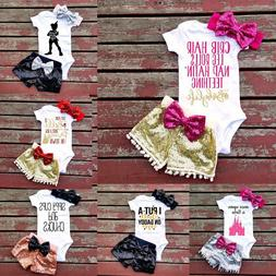 Adorable Newborn Baby Girls Outfit Clothes Romper Jumpsuit B