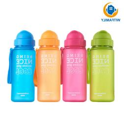 Baby Kids Children School Drinking Water Straw Bottle Sport