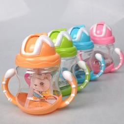 Baby Non-Spill Silicone Sippy Cup Kids Handles Straw Trainer