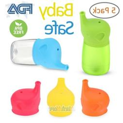 Baby Sippy Cup Lids Elephant Spill Proof Food-Grade Silicone