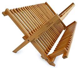 "Culina Bamboo Dish Rack, Fold-able, Compact Fold size 18""x 1"