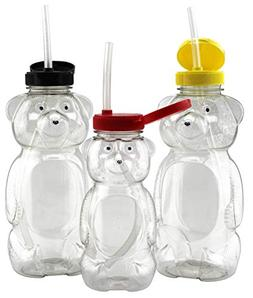 Bear Family Honey Bear Straw Cups ; 2 Large & 1 Regular Ther