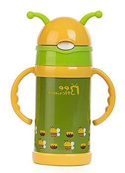 Bee Flowers Vacuum Insulated Stainless Steel Sippy Cup with