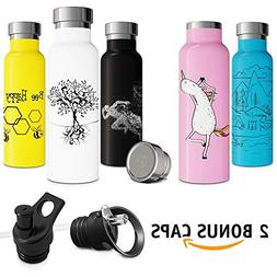 Bee Gift Insulated Water Bottle with Straw Push-Pull Sports