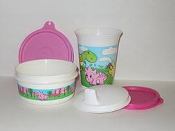 Tupperware Bell Tumbler Sippy Cup and Snack Bowl Set Baby Di