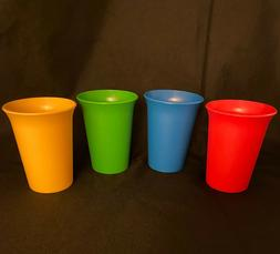 Tupperware Bell Tumblers Set Of 4 ~ 7 oz.Kids Cups~Red~Blue~