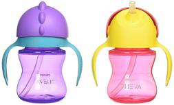 Philips Avent My Bendy Straw Cup, 7oz, 2pk, Pink/Purple, SCF