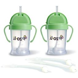 Zoli BOT Sippy Cups - Green  WITH 3 BOT Replacement Straws.