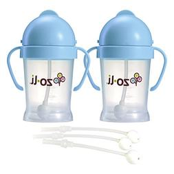 Zoli BOT Sippy Cups - Blue  WITH 3 BOT Replacement Straws.
