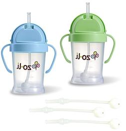 ZoLi BOT 6 Ounce Straw Sippy Cup 2 Count with Replacement St