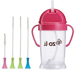 Zoli Bot Straw Sippy Cup 9oz. with Sippy Cup Cleaner - Pink