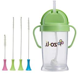 ZoLi BOT Straw Sippy Cup 9oz. with Cleaning Brush Set, Green
