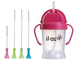 ZoLi BOT 6 Ounce Straw Sippy Cup with Cleaning Brush Set, Pi