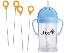 Zoli Bot Straw Sippy Cup 9oz. with Sippy Cup Cleaner - Blue