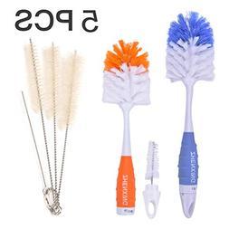 5 PCS Baby Bottle Brush, Flexible Silicone Water Bottles Bru