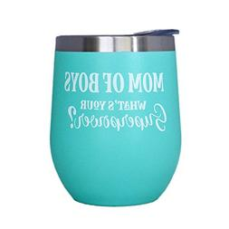 "Boy Mom Gift - ""Mom Of Boys"" - 12 oz Mint Stainless Steel St"