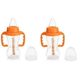 Thinkbaby BPA Free No Spill Sippy Cup, Orange/Natural, 9 Oun