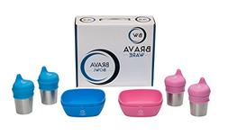 BravaWare BravaBowl BUNDLE: 12 Piece Set: 4 Silicone Kids an