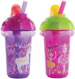 Munchkin Click Lock Flip Straw Cup, Pink/Purple, 9 Ounce, 2