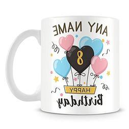 Coffee Mug, 8th Birthday Gift Personalised Ceramic Coffee Cu