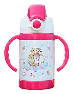 Cute Cat Vacuum Insulated Stainless Steel Sippy Cup with han
