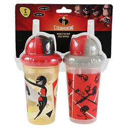 DisneyPixar Incredibles 2 Pop up Straw Sippy Cup, Red, 2 Cou