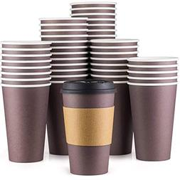 Disposable Coffee Cups With Lids - 16 oz To Go Coffee Cups