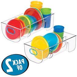 mDesign Divided Storage Organizer Container for Kitchen Cabi