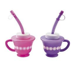 Fun Express Dozen Tea Party Cups with Straw & Top