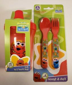 Sesame Street Elmo BPA Free 8oz Sippy Cup & 2pc Fork & Spoon