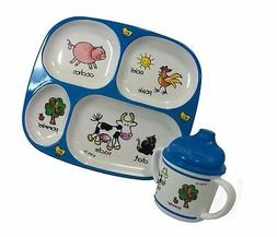Baby Cie Farm Animals, Melamine Plate & Sippy Cup - 2 Piece
