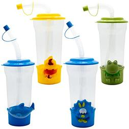 TukTek Kids First 4 Pack Cute Animal Party Sippy Cups with L
